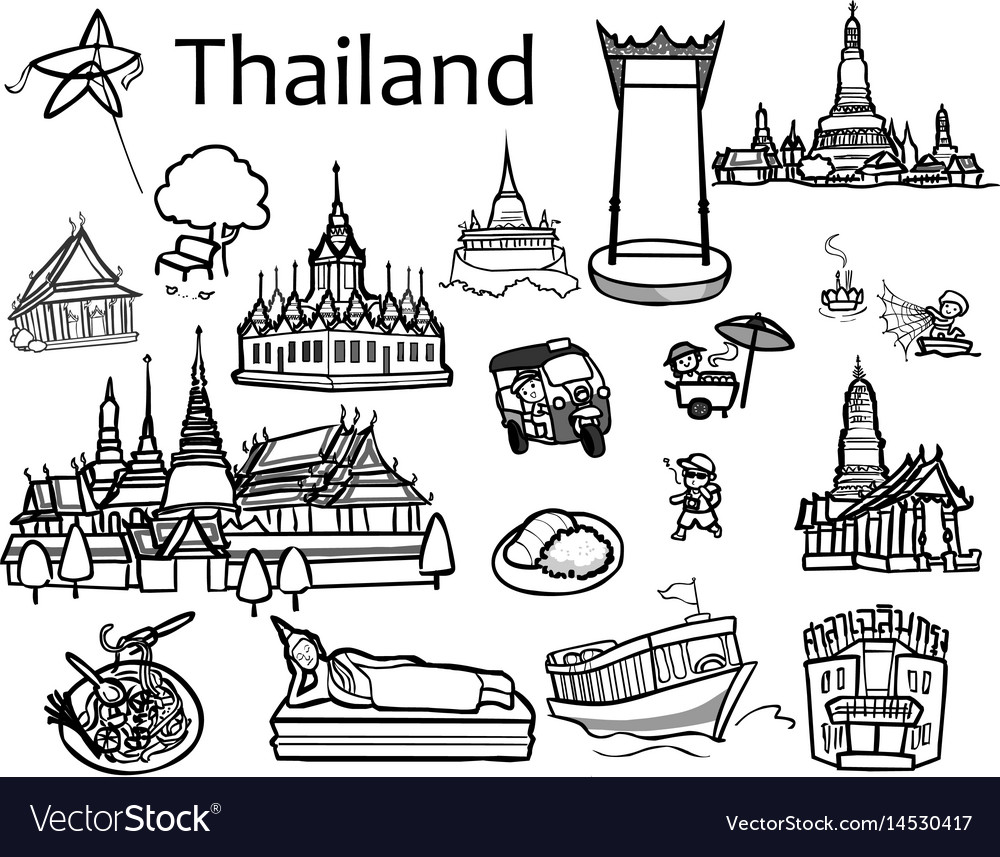 Thailand attractions icon and.