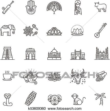 India icons set. Indian attractions, line design. Tourism in.