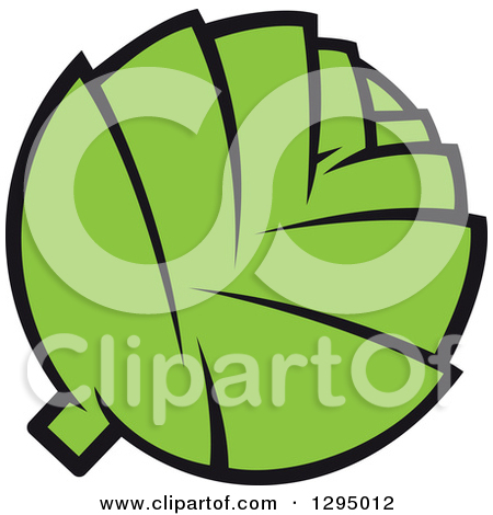 Clipart of a Cute Artichoke Character with Blushing Cheeks.