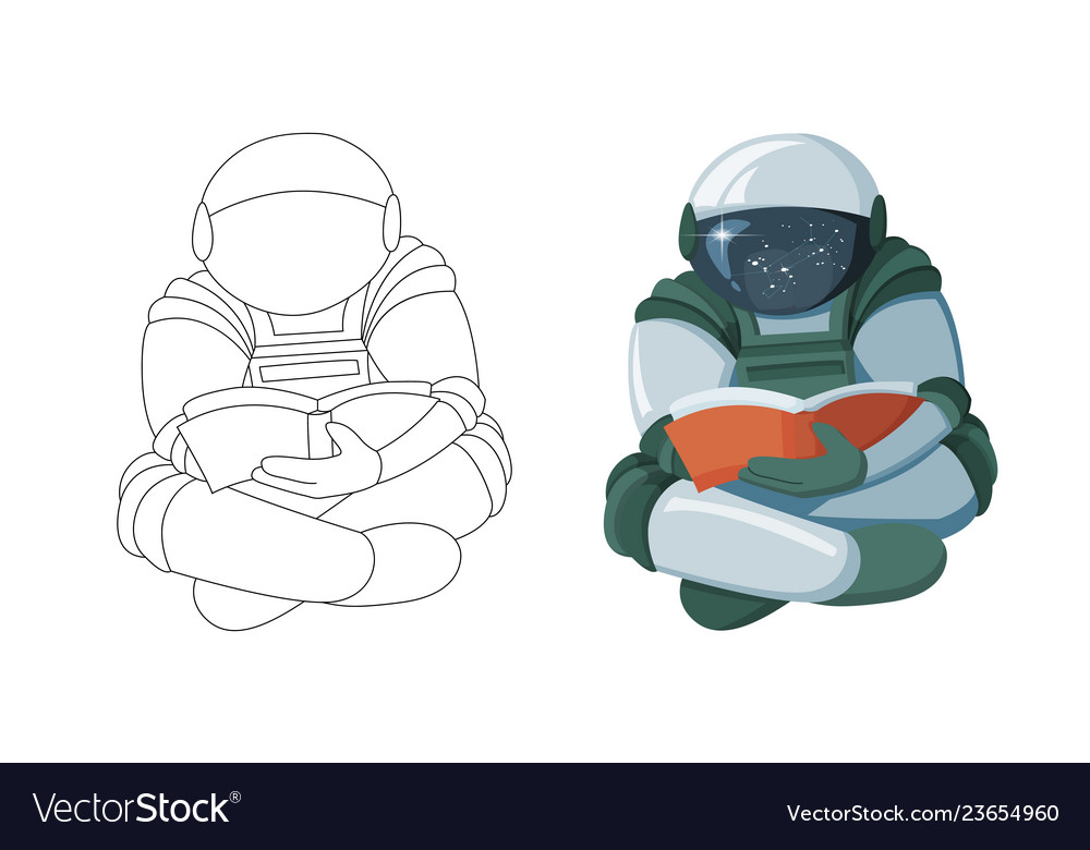 Cartoon floating astronaut reading a book in space.