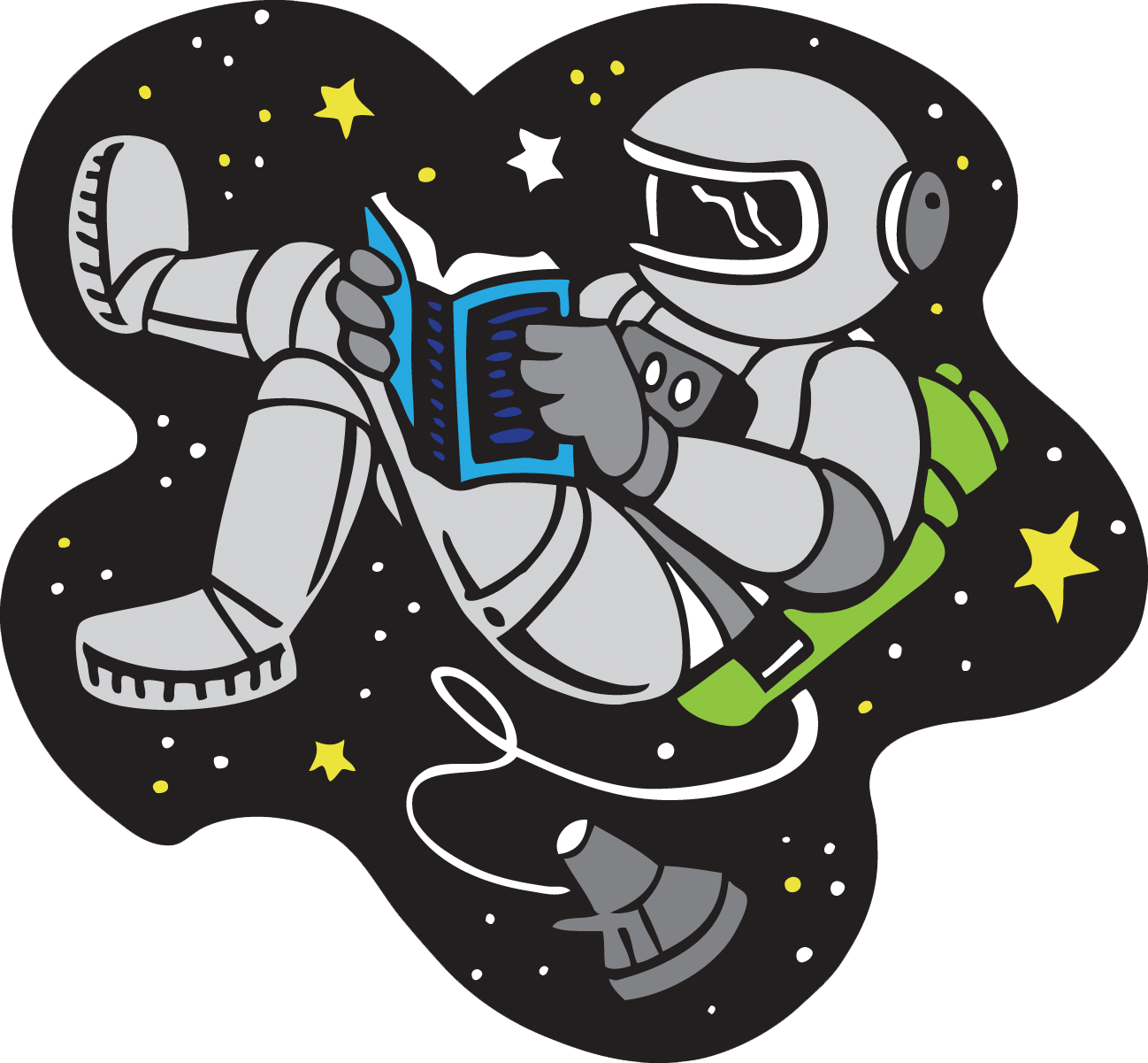Cartoon Clip Art Of Astronaut Reading While Space Walking.