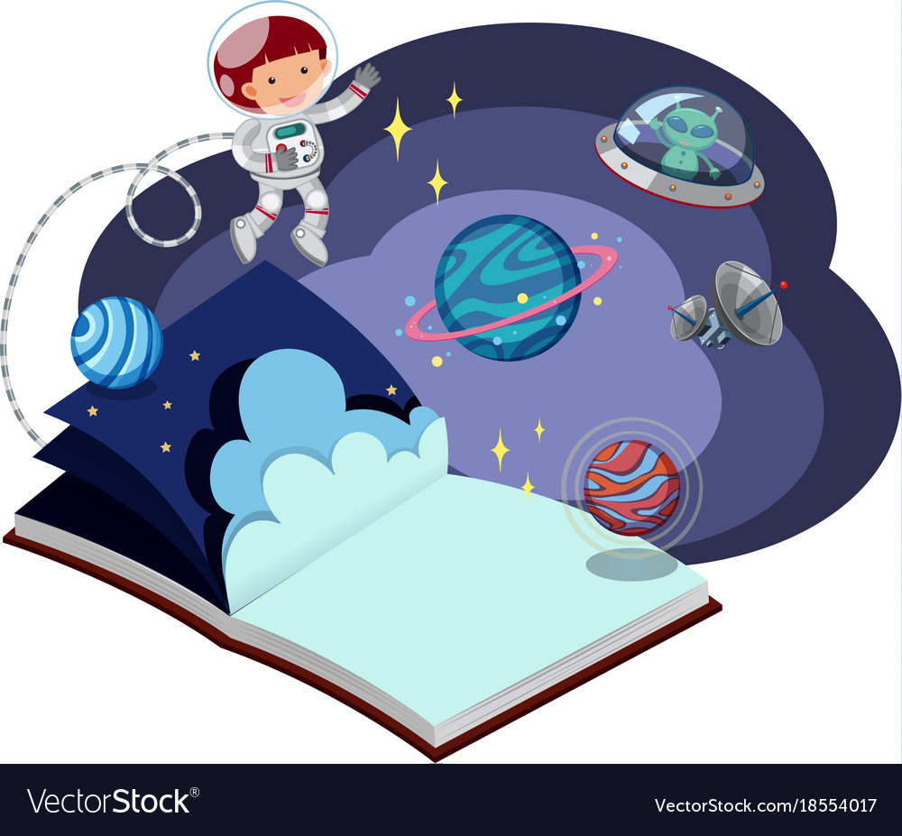 Book with astronaut in space.
