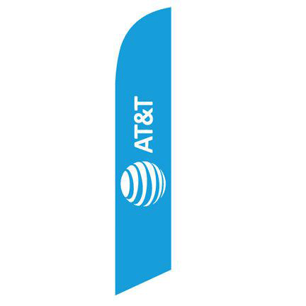 New Logo AT&T Wireless blue 12ft Stock Feather Flag.