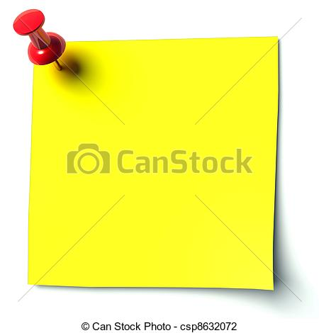 Clip Art of yellow sticker attached drawing pin csp8632072.