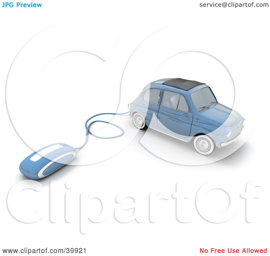 Clipart Illustration of a Computer Mouse Attached To A Blue.