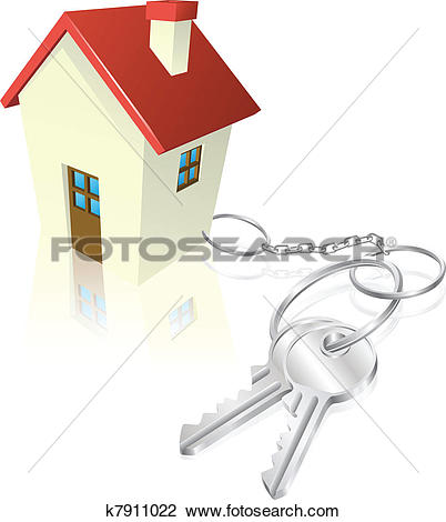 Clipart of House attached to keys as keyring k7911022.