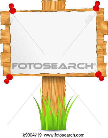Clip Art of Wooden board with attached paper k9004719.