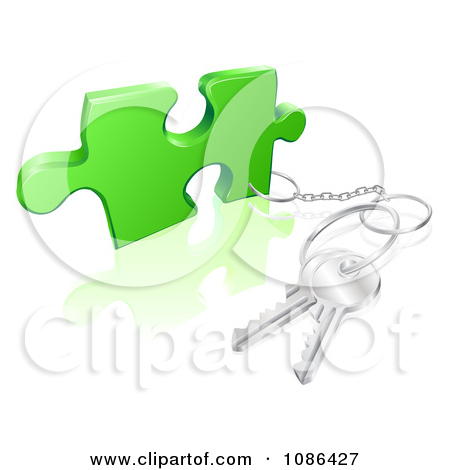 Clipart 3d Key Ring Attached To A Puzzle Piece.