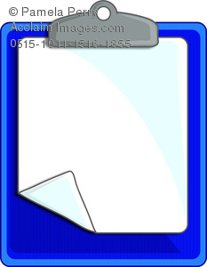 Clip Art Image of a Clipboard With a Piece of Paper Attached.