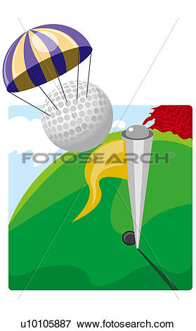 Stock Illustration of Golf ball attached to a parachute above a.