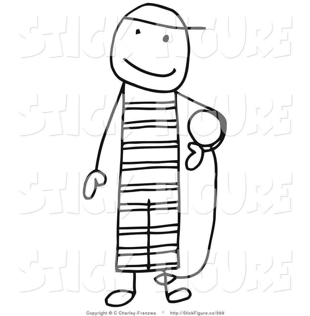 Clip Art of a Stick Figure Person Criminal Prisoner Carrying the.