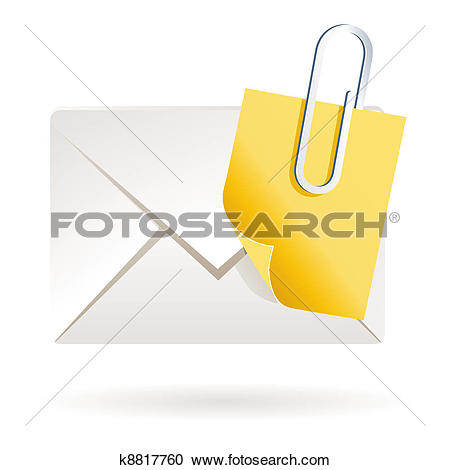 Clipart of Attached note on mail on blank k8817760.