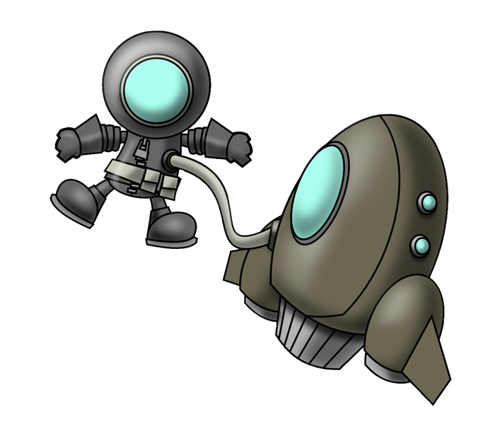 Free astronaut attached to spaceship clip art.