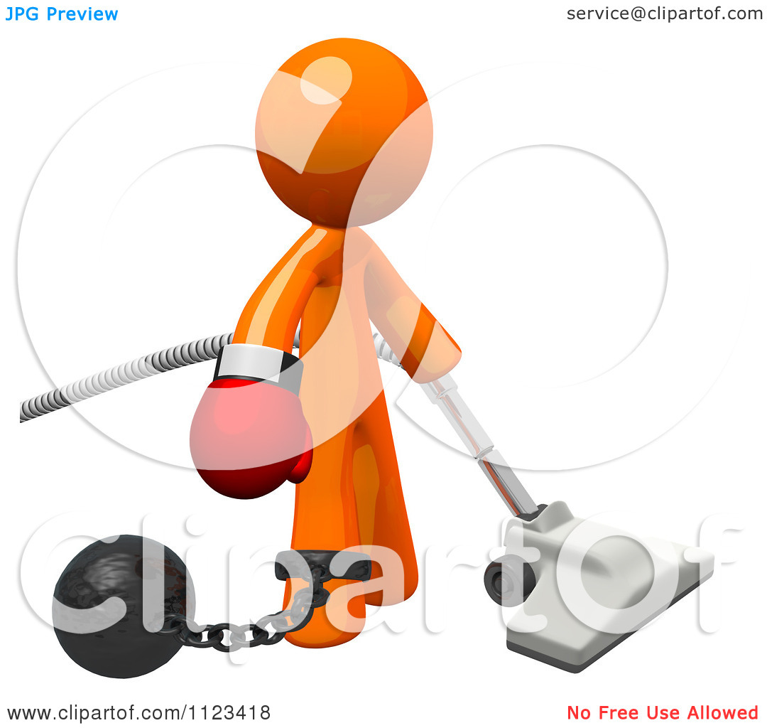 Clipart Of A 3d Vacuuming Orange Man Attached To A Ball And Chain.