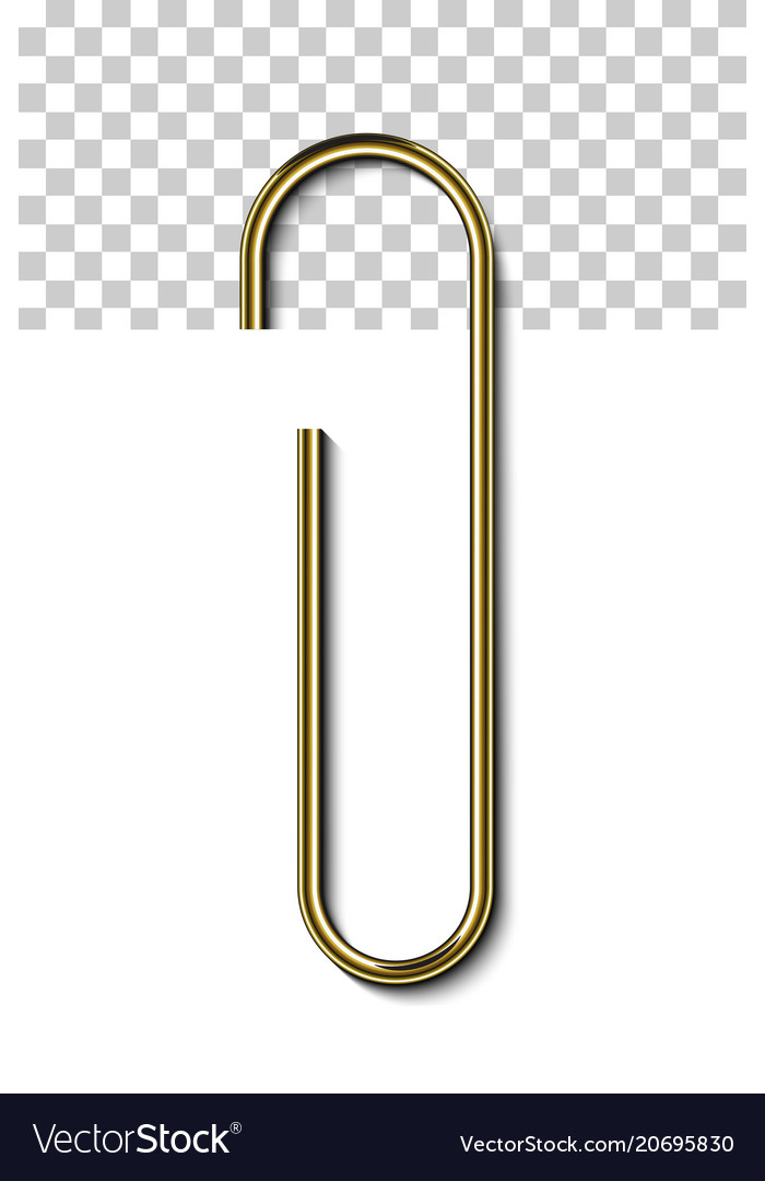 Gold metal paperclip isolated and attached to.