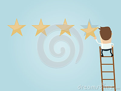 Businessman Attaching A Premium Quality Star Stock Vector.
