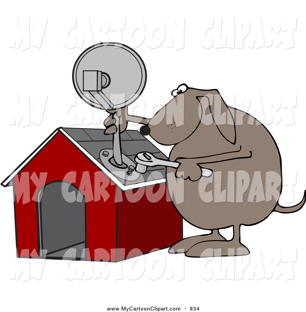 Clip Art of a Dog Attaching a Satellite Dish to His Dog House by.