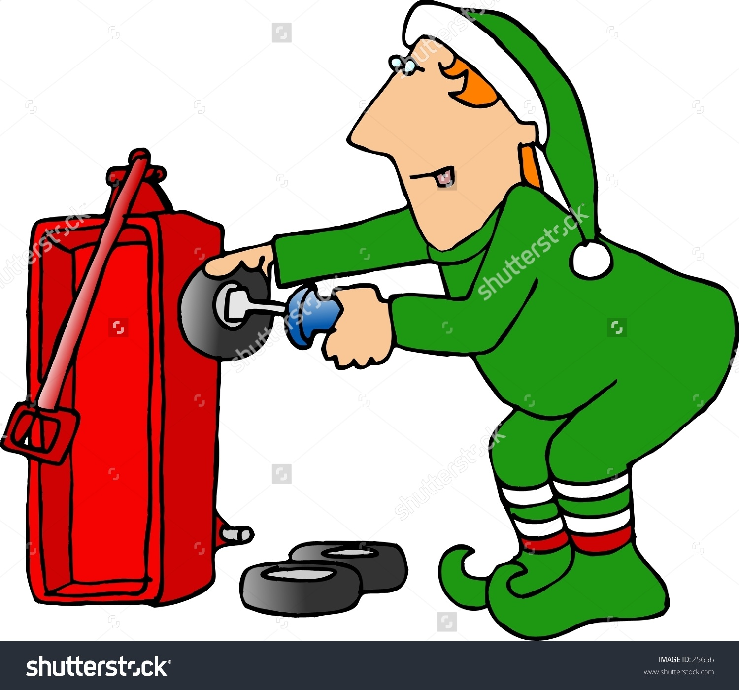 Clipart Illustration Christmas Elf Attaching Wheel Stock.