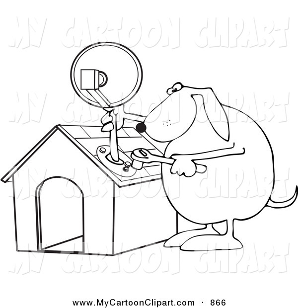 Clip Art of a Black and White Outline of a Dog Attaching a.