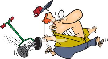 Cartoon of a Guy Being Attacked by His Lawnmower.