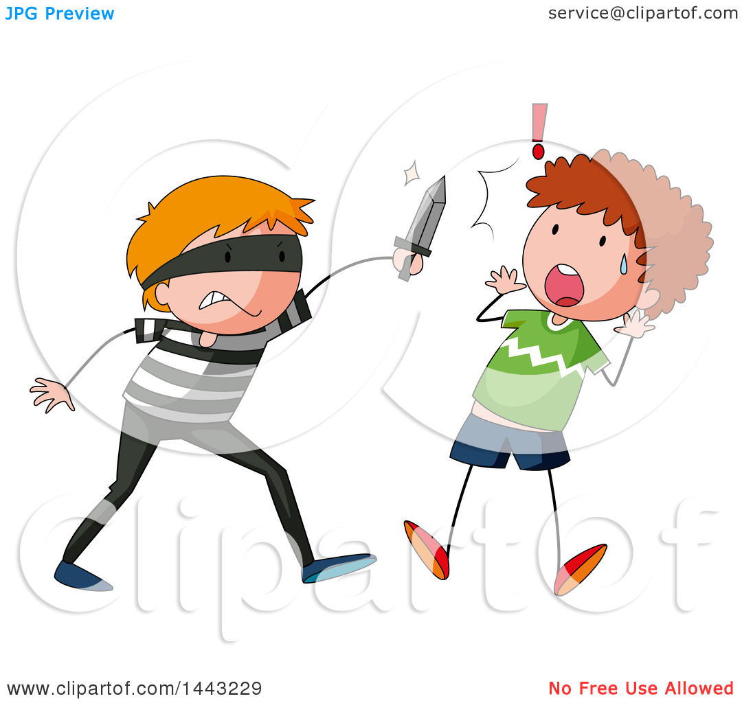 Clipart of a White Boy Being Attacked.