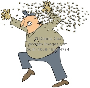 Clipart Illustration: Man Being Attacked by a Swarm of Killer Bees.