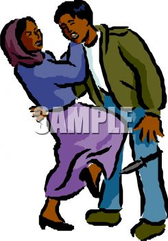 Royalty Free Clip Art Image: Ethnic Woman Using Self Defense on an.