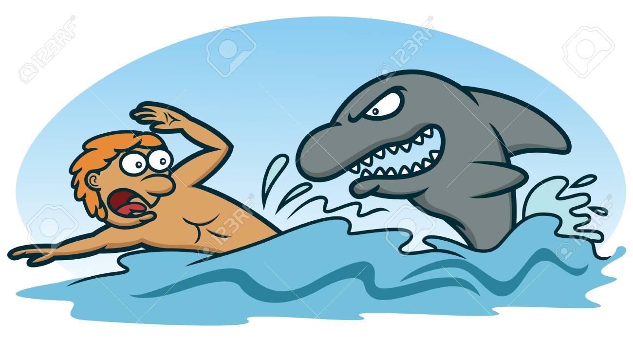 Scared Man Avoiding Shark Attack Cartoon Illustration.