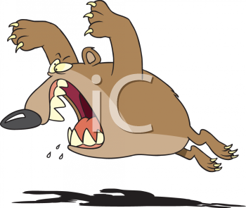 Royalty Free Clipart Image: A furious bear aggressively attacking.