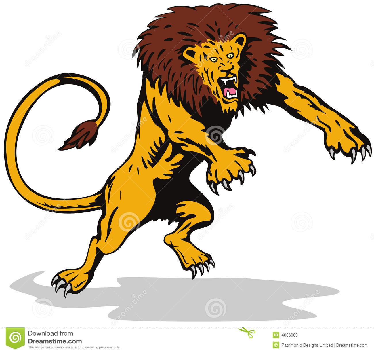 Lion attack clipart.