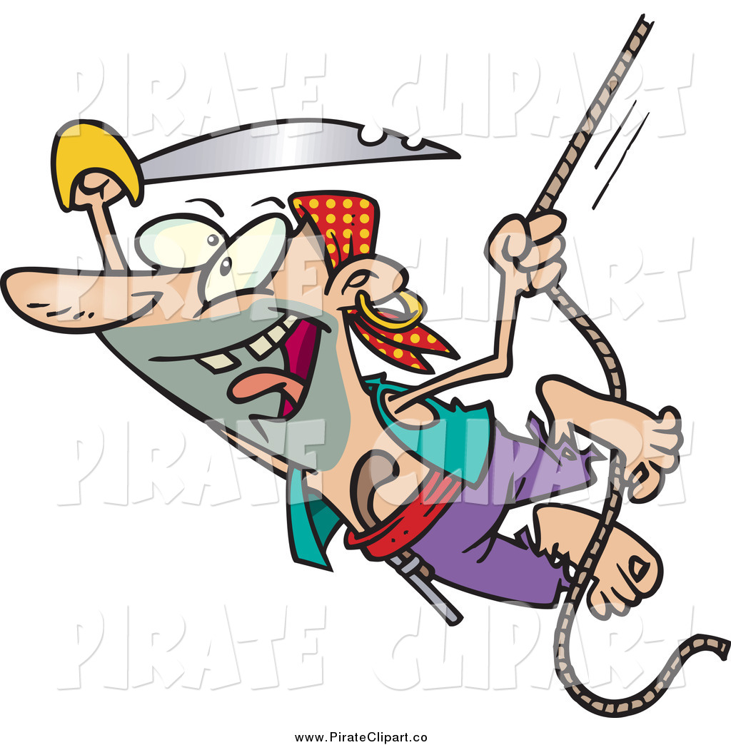 Vector Clip Art of a Cartoon Attacking Pirate Man Swinging on a.