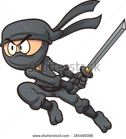 Cartoon Ninja Attacking Vector Clip Art Stock Vector 185469386.