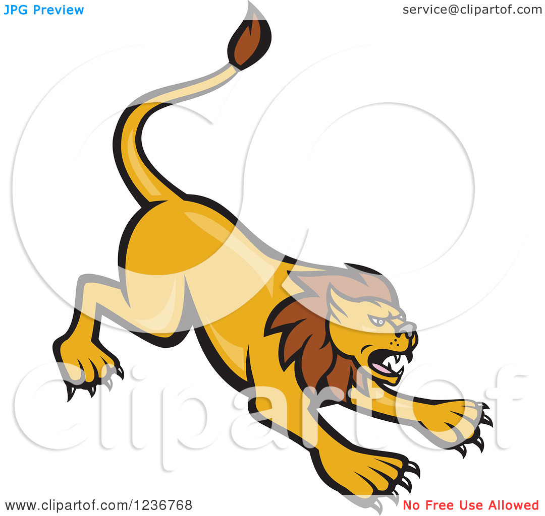 Clipart of a Mad Lion Attacking.