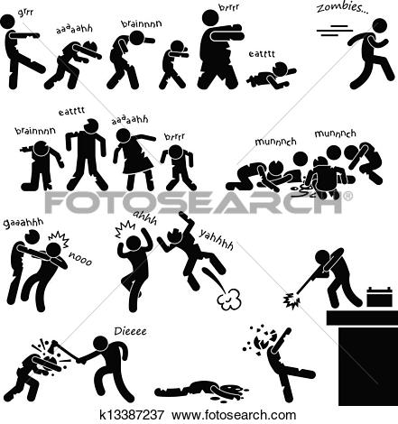 Clipart of Wild Animal Attacking Hurting Human k18386791.