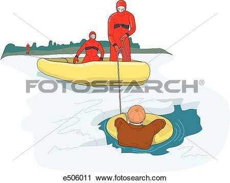 Clipart of Two rescuers wearing ice suits attempt to rescue a man.