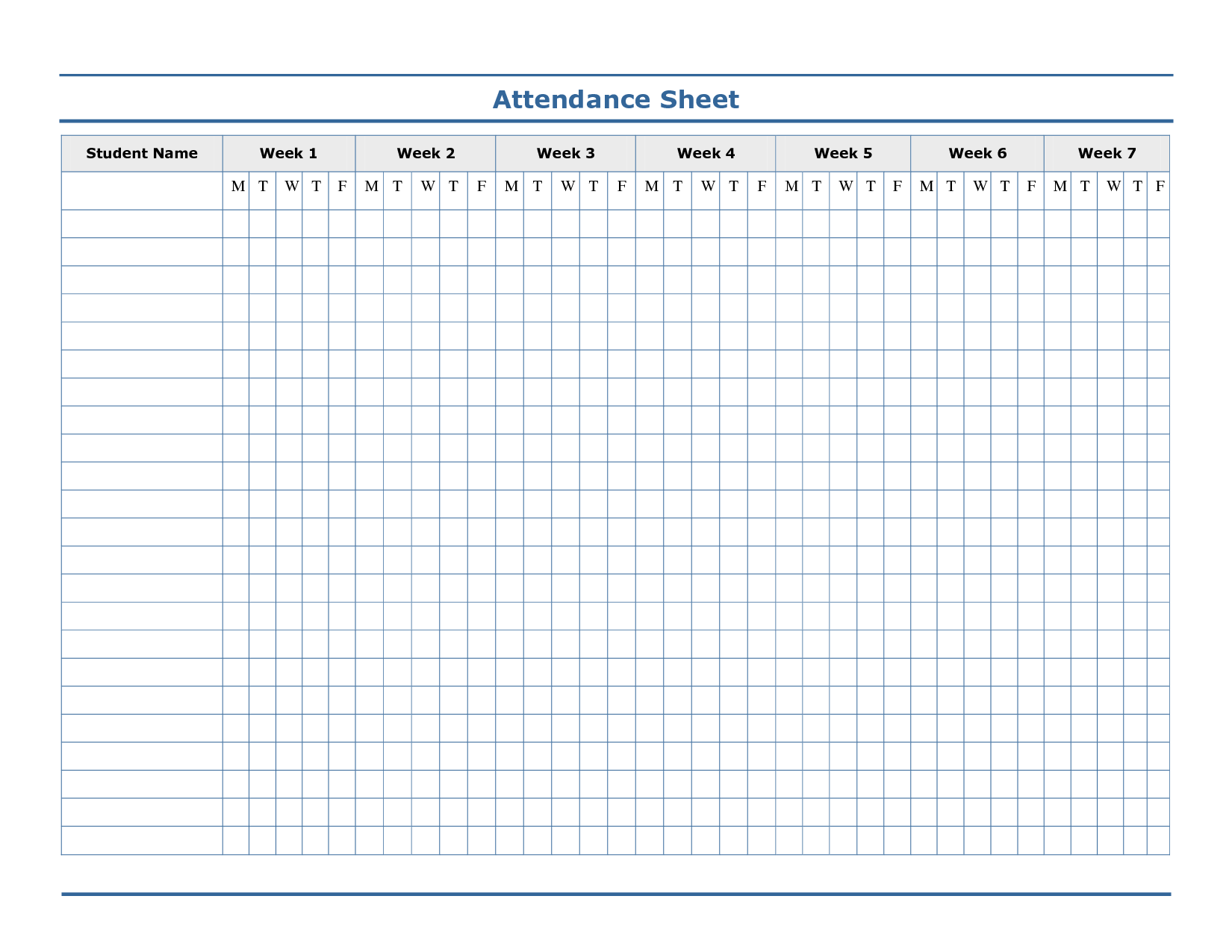 attendance template free.