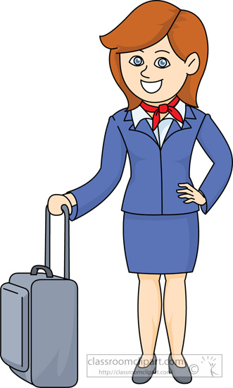 Animated flight attendant clipart.