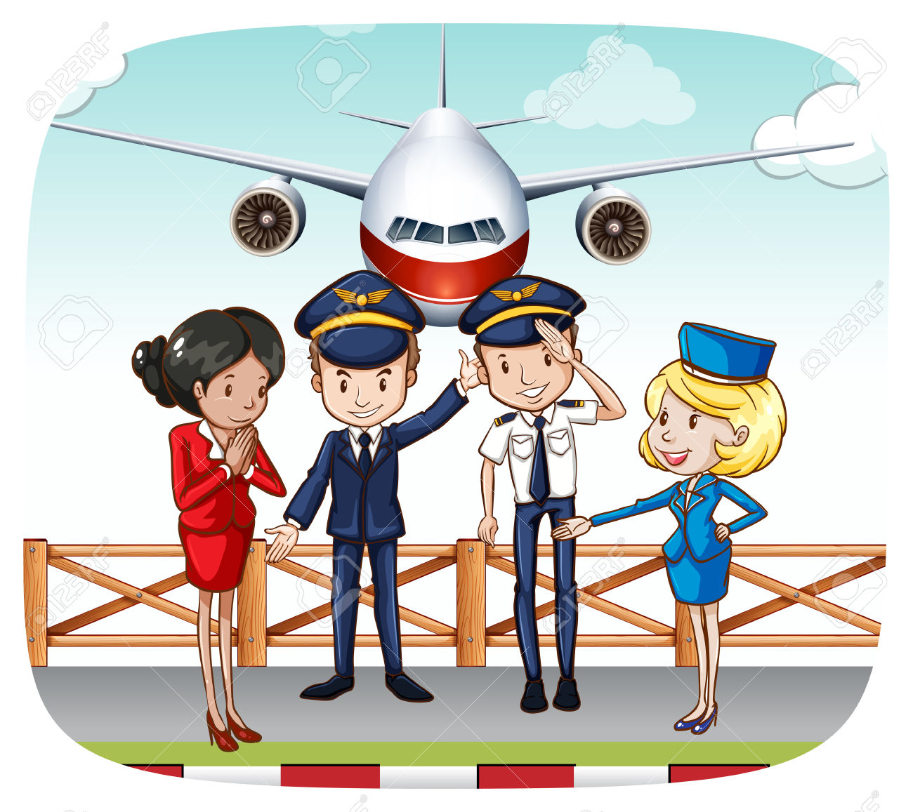 Pilots And Flight Attendants Greeting At The Airport Royalty Free.