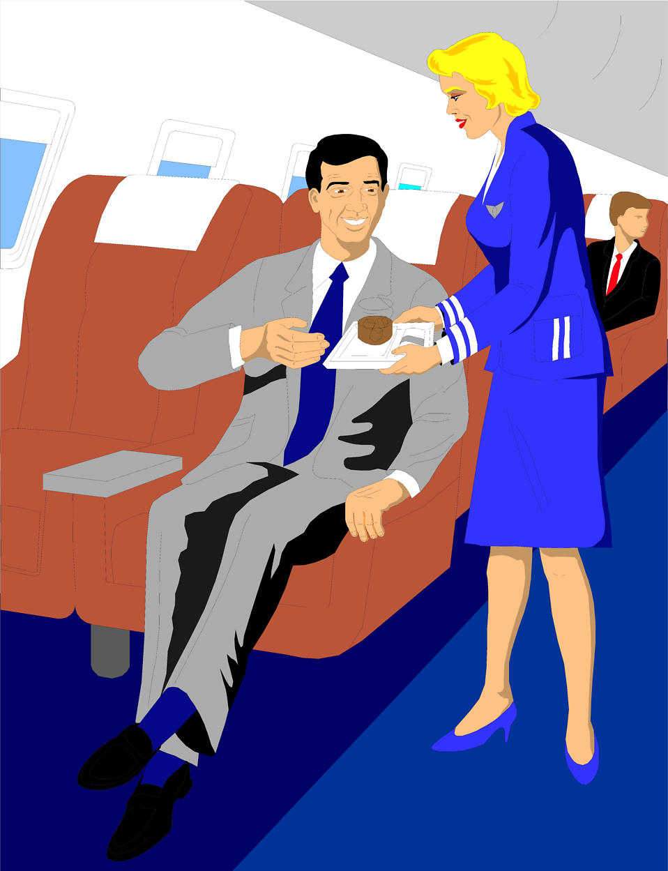 Flight attendant serving clipart.