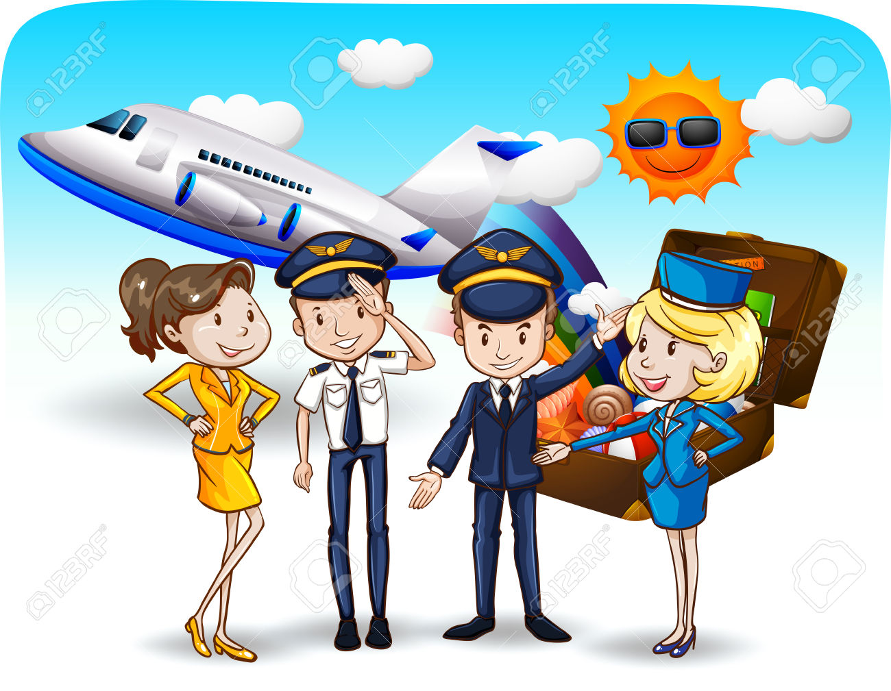 Pilots And Flight Attendants In Uniform Royalty Free Cliparts.
