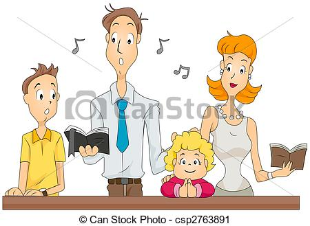 Clipart of Family Mass.