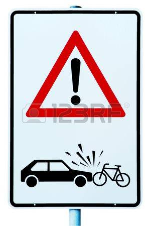 Traffic Sign With Attention Danger Of Accident Car And Cyclist.