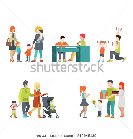Vector Illustration Character Set Parents Mother Stock Vector.