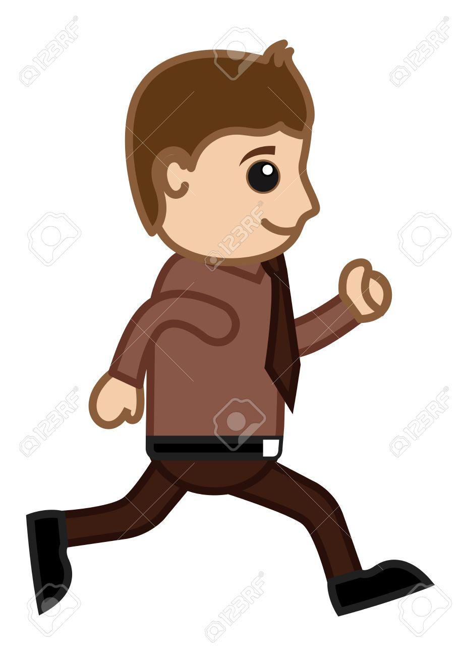 Man Running In Office.