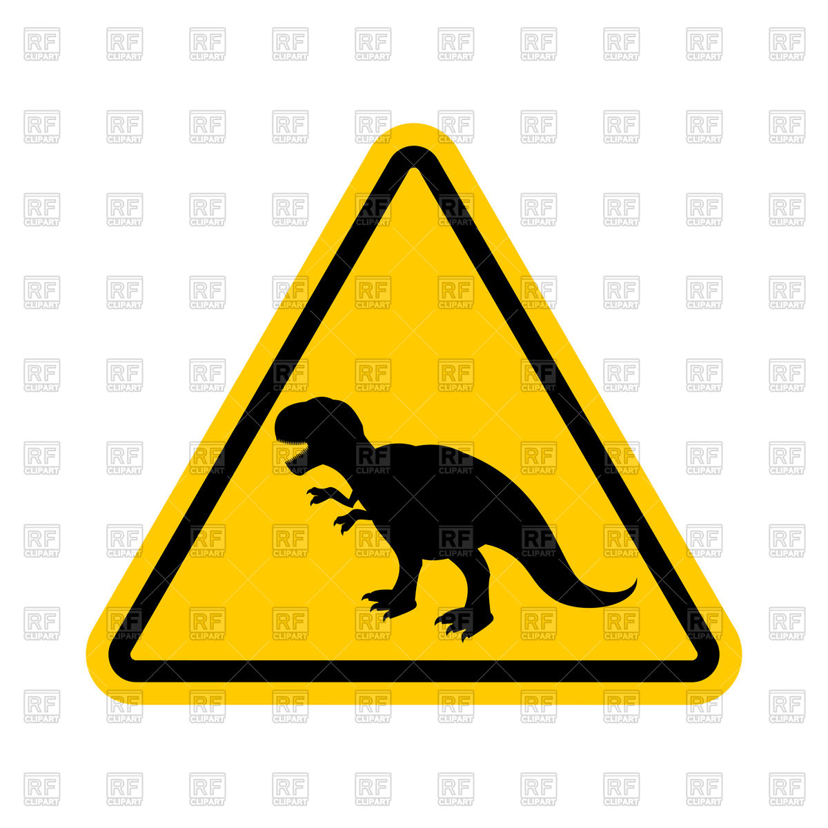 Attention dinosaur yellow sign Stock Vector Image.