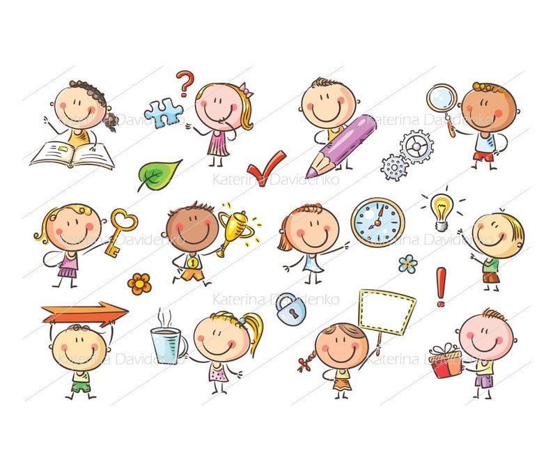 Kids with Symbols, kids clipart, kids symbols clipart, symbol clipart, kids  images, symbols images, symbols doodle, children clipart.