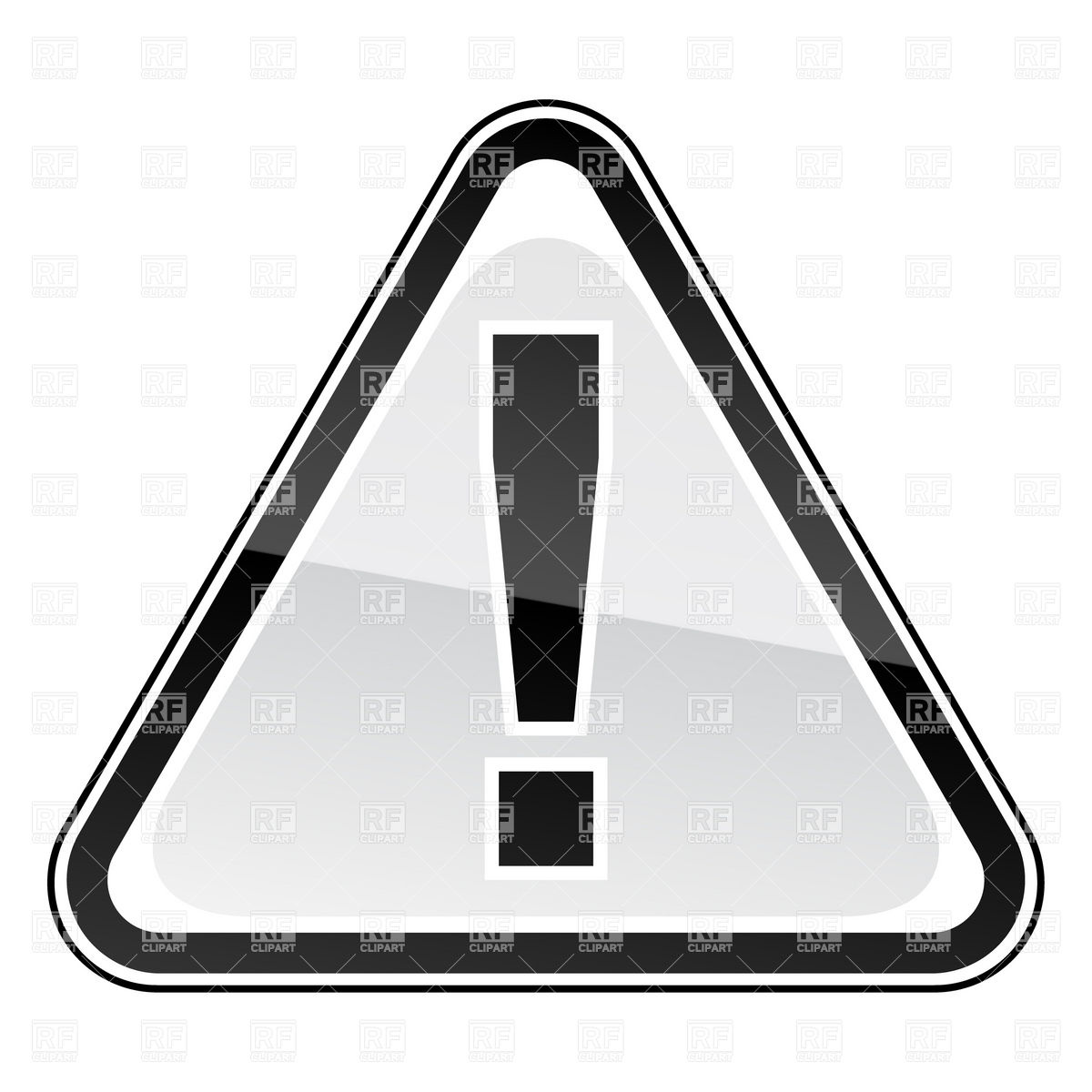 White attention road sign with exclamation point Stock Vector Image.