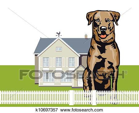 Attentive watchdog Clip Art.
