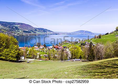 Stock Bilder von schöne, attersee, österreich, Ansicht.