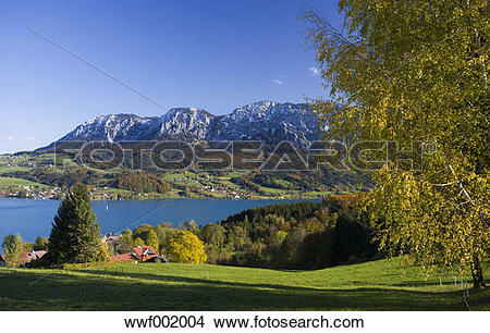 Stock Photo of Austria, Attersee, View of Hoellen Mountain during.